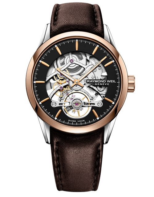 Raymond Weil Freelancer Calibre RW1212 Skeleton Automatic Watch 42 mm, stainless steel, brown leather strap, open-worked black dial, rose-tone PVD