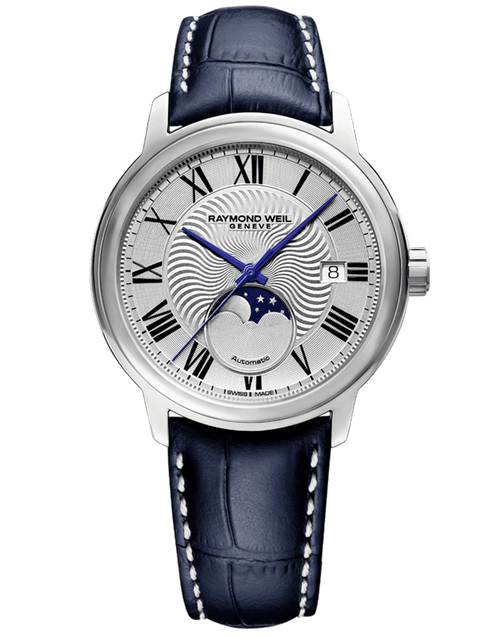 Raymond Weil Maestro Men's Moon Phase Automatic Leather Watch 39.5 mm, stainless steel, blue leather strap, silver dial, Roman numerals