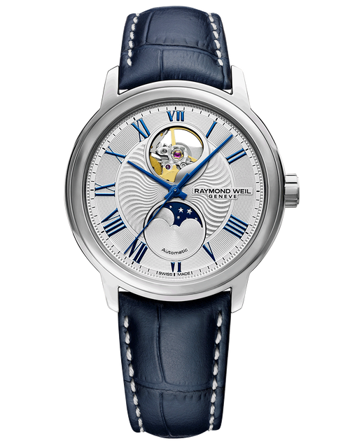 Raymond Weil Maestro Men's Moon Phase Automatic Leather Watch 39.5 mm, stainless steel, blue leather strap, silver dial, Roman numerals with automatic winding, moon phase functions and visible balance