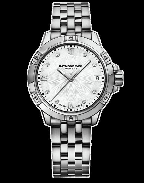 Raymond Weil Tango Classic Ladies Diamond Dial Steel Quartz Watch 30 mm, stainless steel bracelet, white mother-of-pearl dial, 8 diamonds