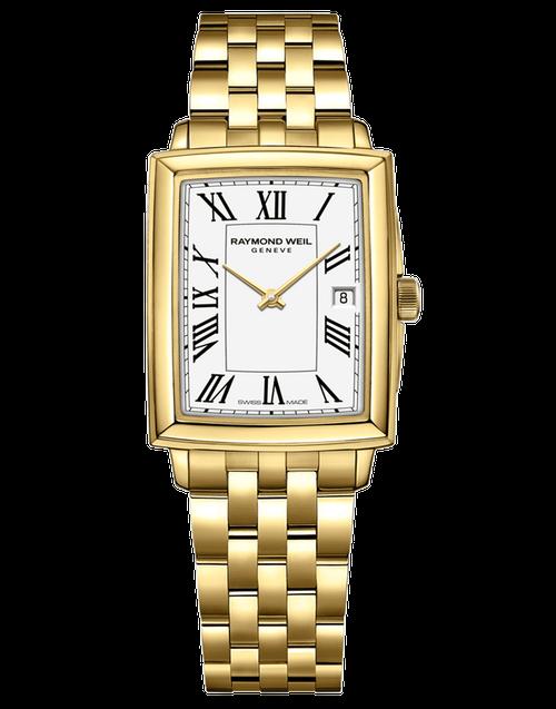 Raymond Weil Toccata Ladies Gold Quartz Watch RAYMOND WEIL toccata 25 mm, gold PVD plating, white dial, black roman numeral indexes
