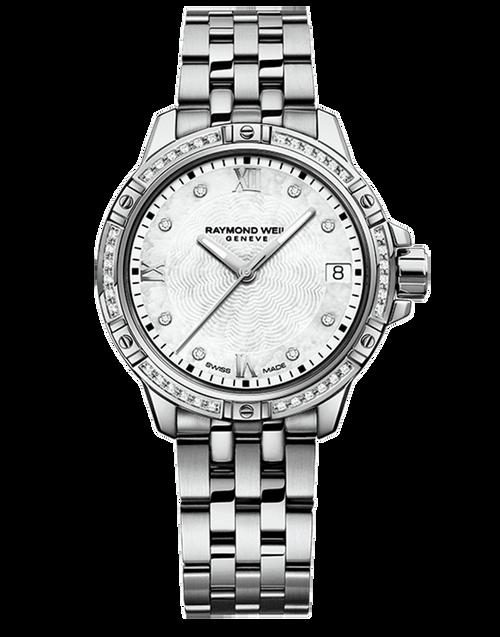 Raymond Weil Tango Classic Ladies Diamond Quartz Watch 30 mm, stainless steel bracelet, white mother-of-pearl dial, 44 diamonds