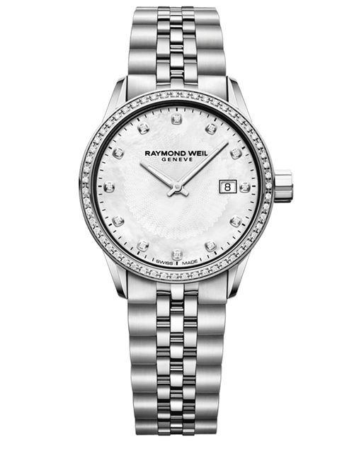 Raymond Weil Freelancer Ladies Steel Diamond Quartz Watch 29 mm, stainless steel bracelet, white mother-of-pearl dial, 67 diamonds