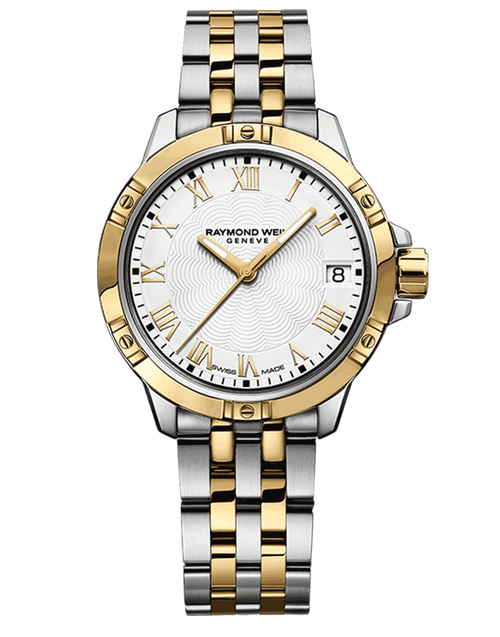 Raymond Weil Tango Classic Ladies Two-Tone Quartz Watch 30 mm, stainless steel bracelet, white dial, Roman numerals, yellow gold PVD