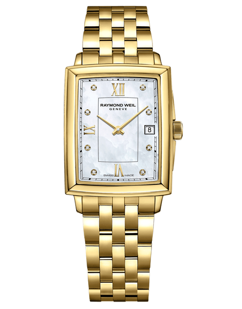 Raymond Weil Toccata Ladies Gold Diamond Quartz Watch RAYMOND WEIL toccata 25 mm, gold PVD plating, mother of pearl dial, diamond and roman numeral indexes
