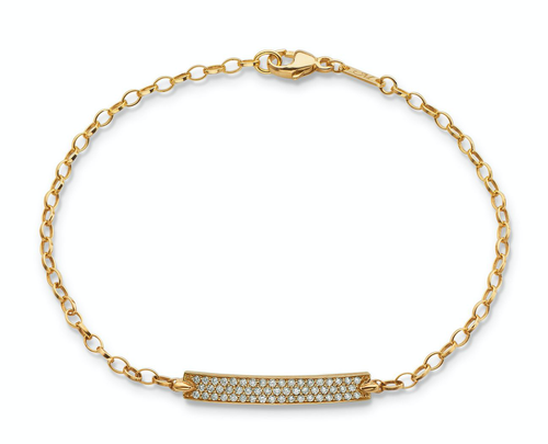 "Monica Rich Kosann Diamond Pave ""CARPE DIEM"" Petite Poesy Bracelet in Yellow Gold"