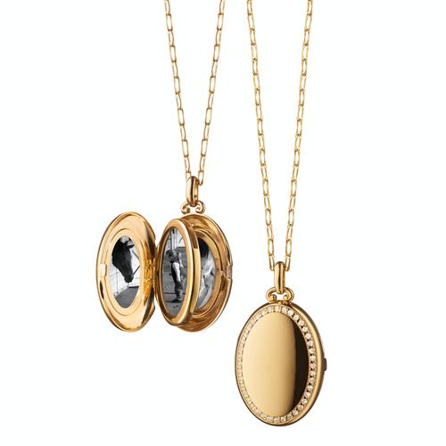 "Monica Rich Kosann ""Midi"" 18K Gold& Diamond Border Locket. 4 Image 1'' Locket in yellow gold"