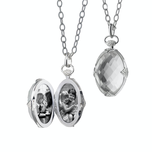 Monica Rich Kosann Rock Crystal Oval Stone Locket with White Sapphire Accents