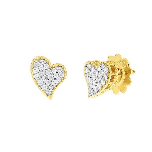 Roberto Coin 18KT Yellow Gold and Diamond Princess Heart Stud Earring
