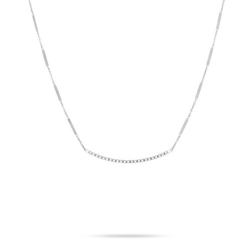 Marco Bicego® Goa Collection 18K White Gold Pave Diamond Bar Necklace In White Gold