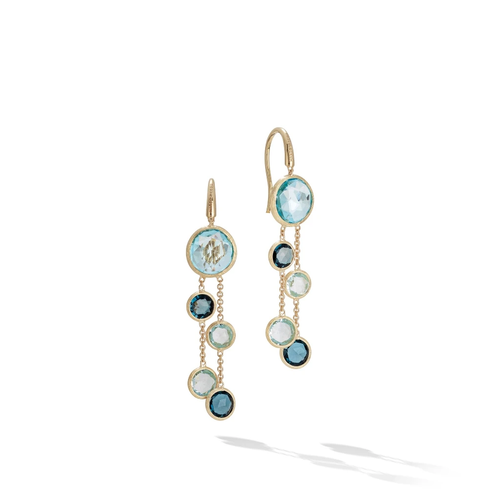 Marco Bicego® Jaipur Color Collection 18K Yellow Gold Mixed Blue Topaz Two Strand Earrings
