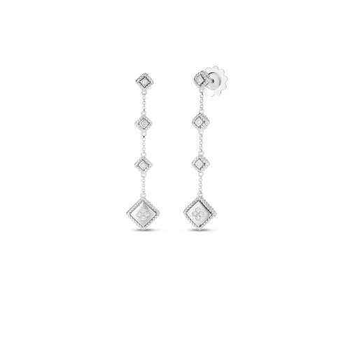 Roberto Coin 18K Palazzo Ducale Satin Drop Earring with Diamond Accent