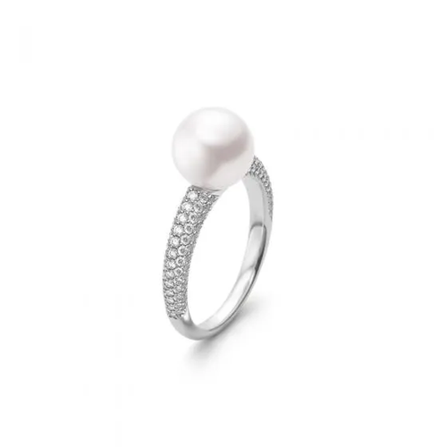Mikimoto Akoya Cultured Pearl and Pavé Diamond Ring