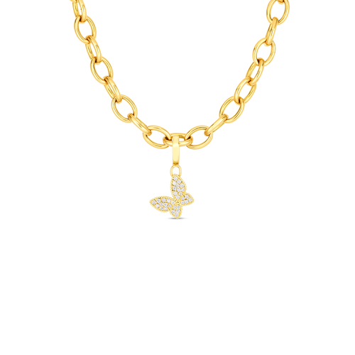 Roberto Coin 18K Gold Oval Link Charm Necklace