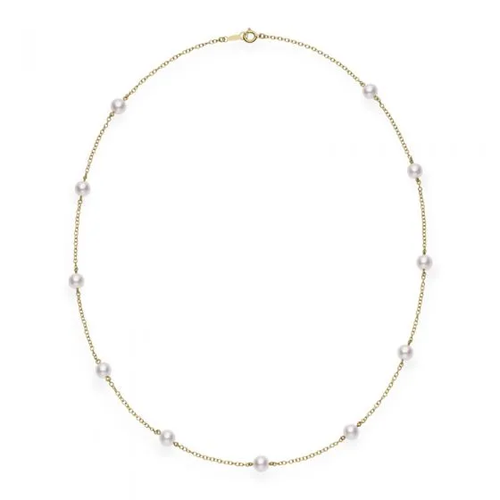 "18"" Akoya Cultured Pearl Station Necklace in Yellow Gold"
