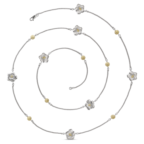 Gardenia Sautoir Long Necklace in Sterling and Gold Vermeil