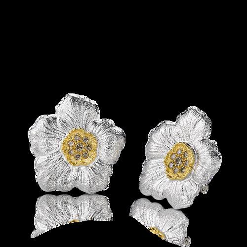 Gardenia Large Button Earrings with Brown Diamonds