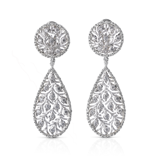 Ramage Diamond Pendant Earrings in White Gold