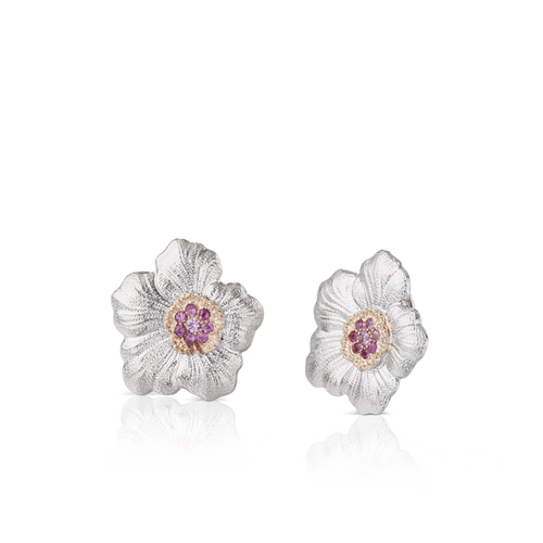 Gardenia Large Button Earrings with Pink Sapphires