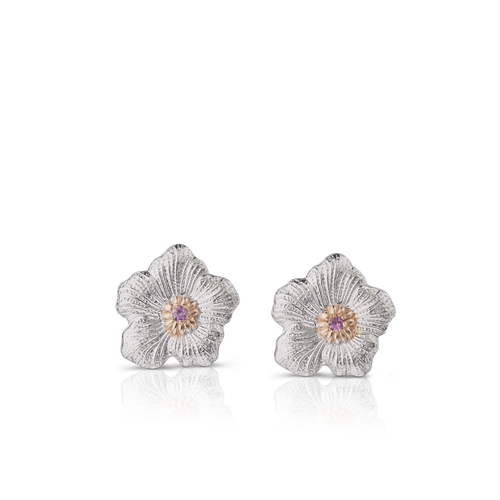 Gardenia Small Button Earrings with Pink Sapphires
