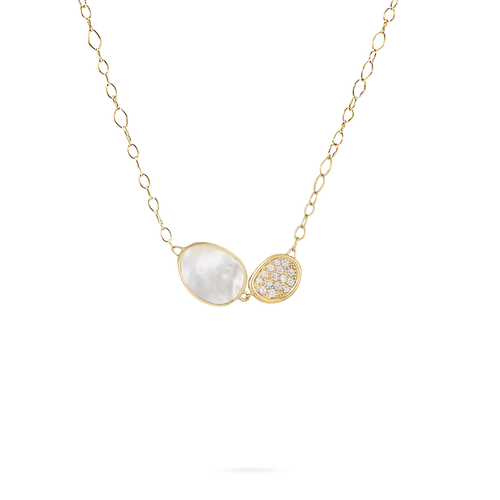 Lunaria Collection 18K Yellow Gold and Mother of Pearl Pendant