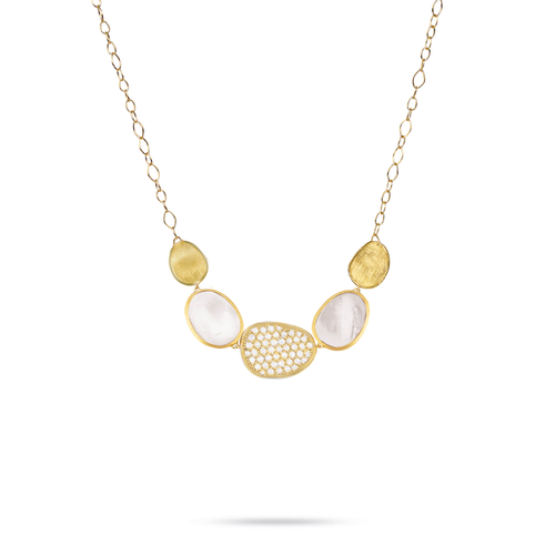 Lunaria Collection 18K Yellow gold and Mother of Pearl Graduated Necklace
