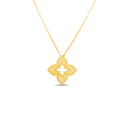 18K Petite Venetian Princess Satin Flower Pendant with Diamond Accent