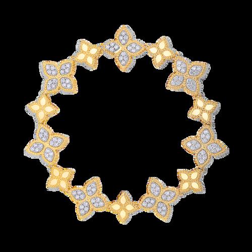 18K Gold Princess Flower Bracelet with Diamonds