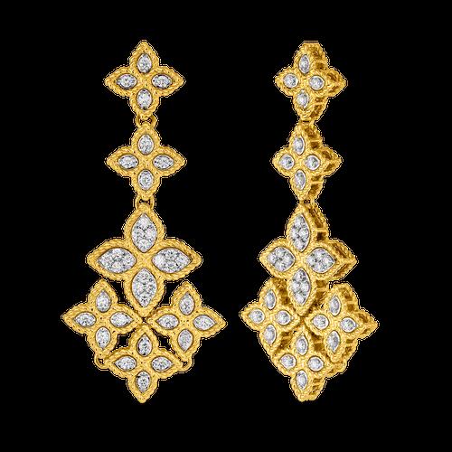 18K Gold Chandelier Earrings with Diamonds