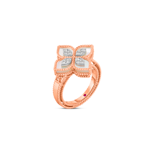 18K Rose Gold Princess Flower Mother-Of-Pearl and Diamond Ring