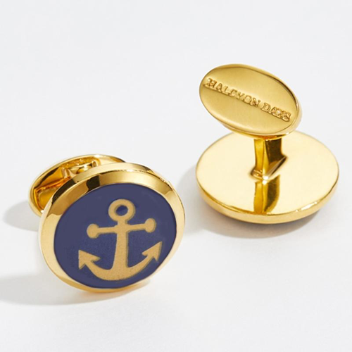 Anchor Gold Round Enamel Cufflinks
