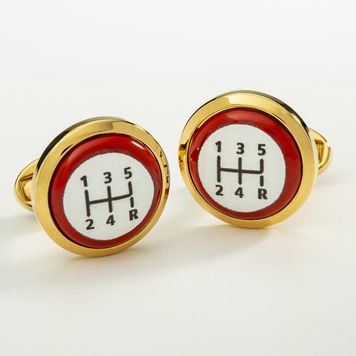 Gear Stick Red Round Gold Cufflinks