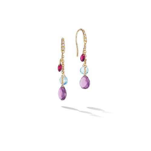 Marco Bicego® Paradise Collection 18K Yellow Gold Diamond and Mixed Gemstone Short Drop Earrings