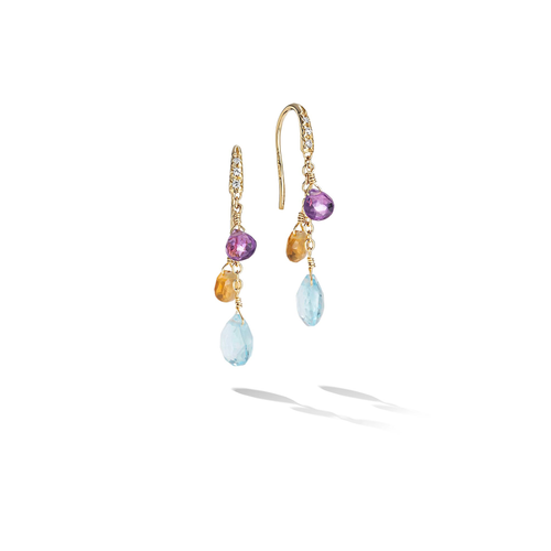 New Paradise Collection 18K Yellow Gold Diamond and Mixed Gemstone Short Drop Earrings