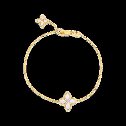 18KT Mother of Pearl & Diamond Single Flower Bracelet