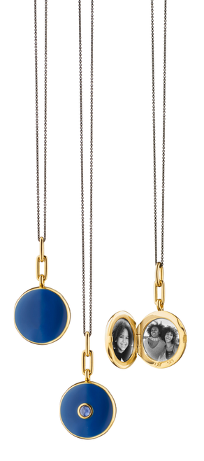18KT Vermeil Navy Round Locket with Enamel and Blue Sapphire