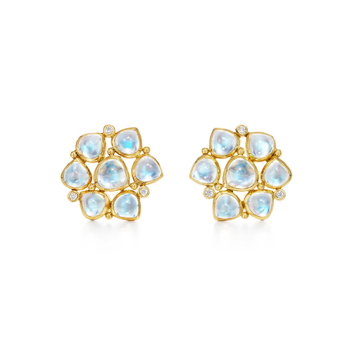 18K Cluster Earrings With Blue Moonstone- Medium Size