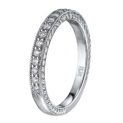 Scott Kay The Crown Wedding Band Single Diamond Strip with Edge Detail 0.11ct