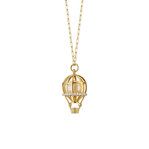 """Adventure"" Hot Air Balloon Charm Necklace in 18K yellow gold with pearl and diamond accents"