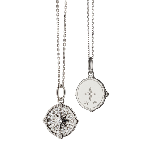 "Mini ""Adventure"" Compass Charm necklace with Pave Sapphires"