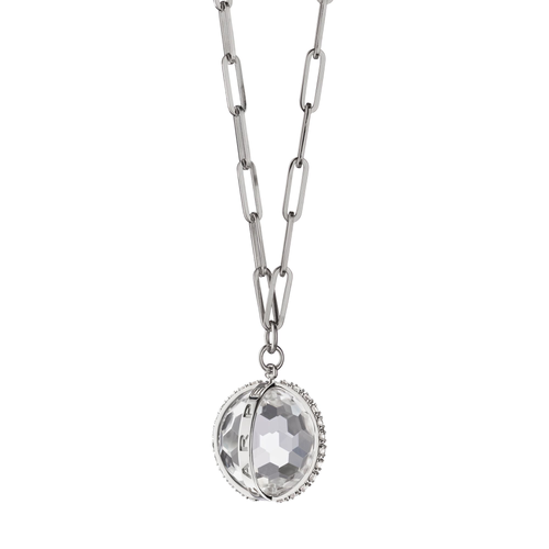 """Carpe Diem"" White Sapphire Charm Necklace Large"