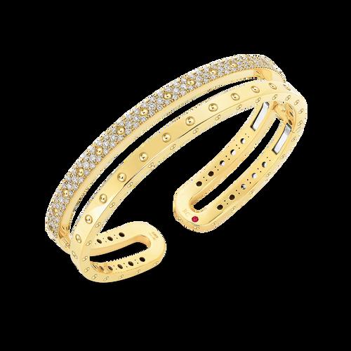 18K Gold Double Symphony Pois Moi Bangle with Diamonds