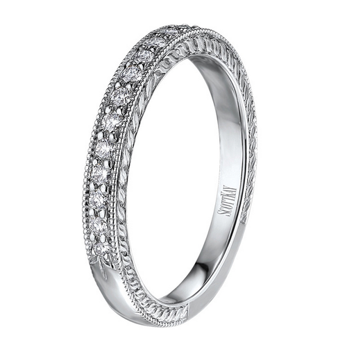 Scott Kay The Crown Wedding Band Single Diamond Strip with Edge Detail 0.22ct
