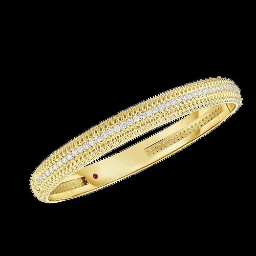 18K Opera Medium width Hinge bangle with Diamonds