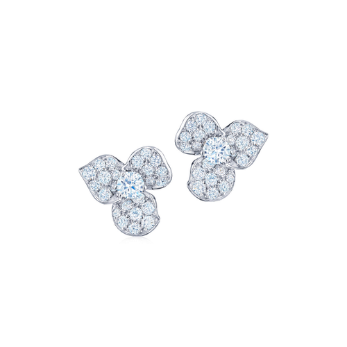Floral Earrings with Diamonds