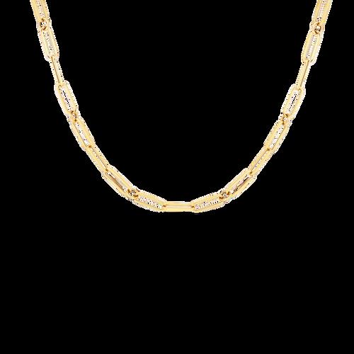 18K Fine Paperclip Link Necklace 17'' Long