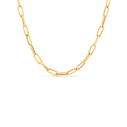 18K Alternating Polished and Fluted Fine Paperclip Link 17'' Chain