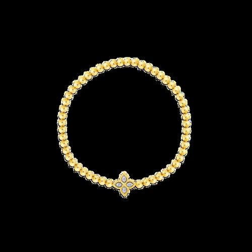 18K Princess Flower Stretch Bracelet w/Small Diamond Accent Flower