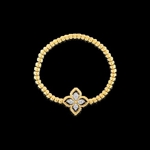 18K Yellow Gold Diamond Principessa Stretch Flower Bracelet