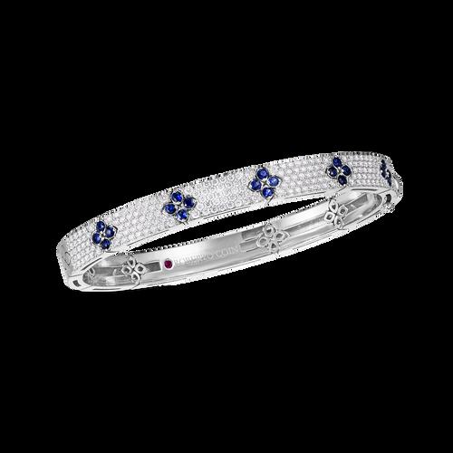 Love in Verona Pave Diamond and Blue Sapphire Bangle